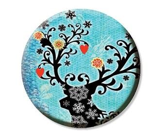 "35% OFF - Christmas Reindeer Pocket Mirror, Magnet or Pinback Button - Favors - 2.25"" MR471"