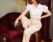 50% OFF SALE - Vintage 1950s Pants - Stylish Tan and White Cotton Seersucker High Waist 50s Pants