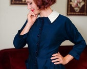 50% OFF SALE - Vintage 1950s Dress - Dashing Navy Blue Tailored 50s Dress with White Linen Collar and Swirling Loop Trim