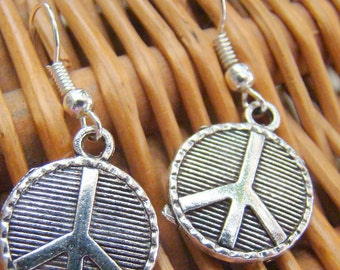 Peace Sign Earrings, Silver Two-Sided Peace Signs, Amazing Detailing