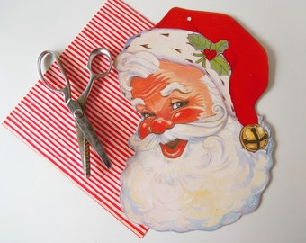 Vintage 1980 Flocked Christmas Holiday Decoration Santa Claus Cardboard Die Cut
