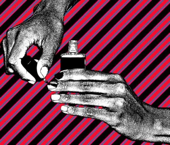 "hands finger nail polish printable wall art Digital Image Download makeup beauty art graphics manicure illustration red black ""11.6 x 13.6"""