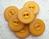 Golden Yellow Buttons 22mm - 7/8 inch Winter Squash Yellow Plastic Buttons - 7 VTG NOS Retro Mod Ring-Around Vintage Sewing Buttons PL210 bb