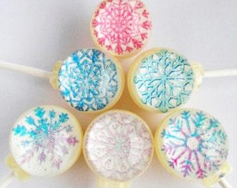 Freshly fallen snowflakes lollipops