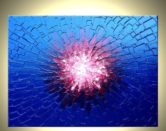 Metallic Blue Painting, Abstract Red Textured Painting, Original Palette Knife Art, By Lafferty - 18x24 Sale 22% Off