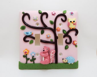 Owl, Squirrel, Hedgehog Double Light Switch Cover or Outlet Cover - Woodland Nursery - Children's Forest Decor - Pink - Toggle or Rocker