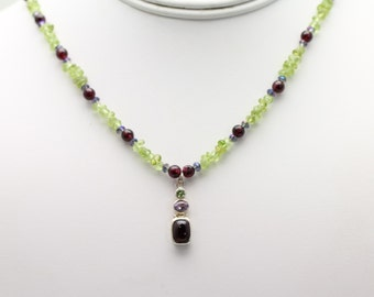 Peridot/Garnet Necklace. Listing 469313350