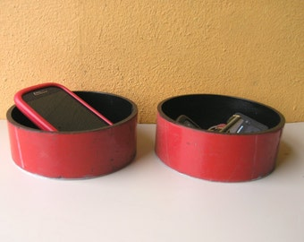 Catch All Dish, Round Tray, Industrial Pipe, Phone Key Tray, PaperclipTray, Desktop Organizers, Liptstick Tray, Industrial Office Desk Caddy
