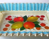 Fruit Blue White Mesh Art Hand Basket Woven Rectangle Carrier Caddy Plastona Greece Unique Style