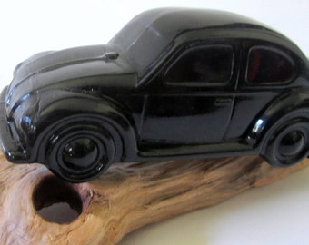 Avon 1972 Volkswagon Bug Beetle Car Decanter Wild Country After Shave Black Glass Original Box Vintage Collectible Gift