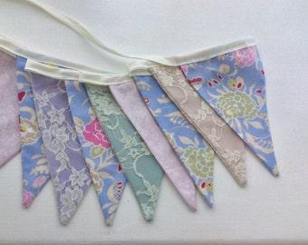 "Pastel Lace Bunting / Flag / Garland - Pastel shades, green, lilac, blues bunting- 2.5m or 98"" long"