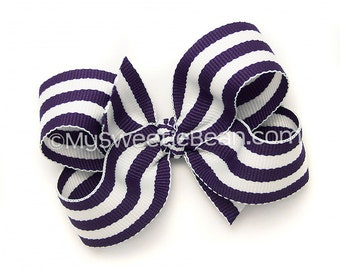 Dark Purple Striped Hair Bow, 3 inch Boutique Bow, Violet Purple and White Cabana Stripes, Preppy Baby Bow, Toddler Girls Striped Hairbow
