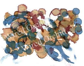 Laser Copy of Original Alcohol Ink Artwork / Denim Blue, Brown, Tan Abstract Design