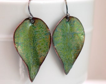 Peridot Green Enameled Leaf Earrings, Greenery Dangle Earrings, Copper Enamel Leaves, Nature Art Ready to Mail, WillOaks Studio Hand Crafted