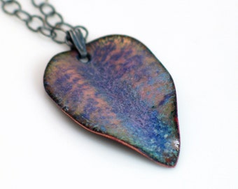 Petite Purple and Blue Enameled Leaf Pendant, Copper Enameled Art Pendant, Enameled Flora Designs Series by WillOaks Studio, Ready to Mail