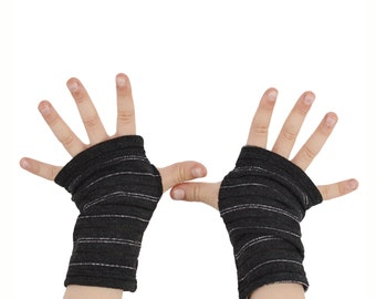 Toddler Arm Warmers in Charcoal Grey and Silver Tinsel Stripes - Fingerless Gloves