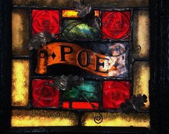 Edgar Allan Poe w Raven - Painted & Kiln Fired Stained Glass Window in Antique Wooden Shutter