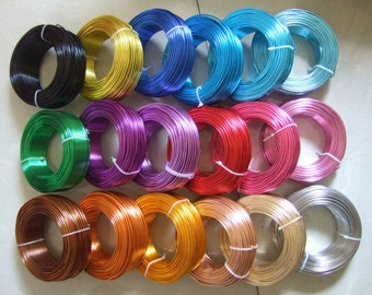 MIXED 12 Gauge Anodized Aluminum Wire Beading Wire 39 Feet per Spool 23 Spools