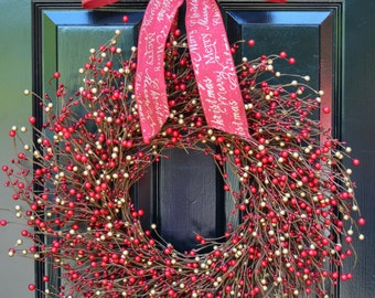 Berry Wreath- Red and Gold Wreath- Door Wreath- Christmas Wreath- Winter Wreaths- Winter Decor- Holiday Wreath- Holiday Decorations