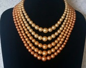Beautiful Shades Of Peach, 5 Strand, Vintage, Faux Pearls, 1950's, Necklace