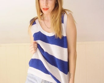 30% off ... Chunky Blue and White Striped Sweater Knit Tank Vest Top - Vintage 80s - OS OSFM