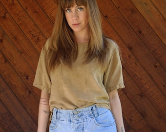 Slouchy Boho Blouse Top in Tan - Vintage 90s - S M