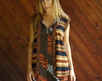 Striped Dark Hippie 70s Sweater Vest - Vintage S M
