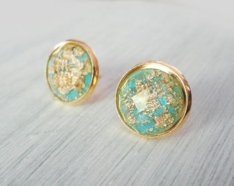 Mint 12mm Gold Leaf Stud Earrings, Mint and Gold, Gold Leaf Jewelry, Bridesmaids Gifts | 4b