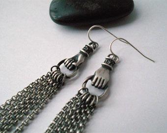 elegant chain earrings, sterling silver, tassle earrings, vintage inspired hands holding chain,long earrings, ready to ship