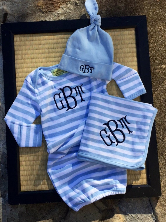 3 Piece Monogrammed Baby Boy Gown Gift Set Baby By