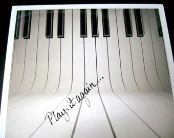 Play It Again ..Magnet Dry Erase Memo Board / housewarming gift / piano / office decor / desk / organization / wall hanging / ivory keys