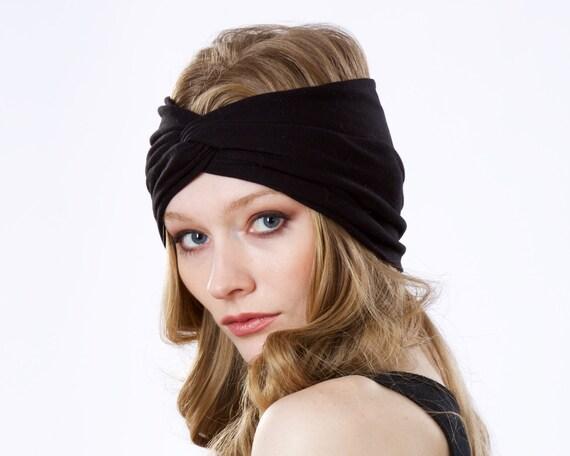 Turban Headband Women Adult Headband Black Headband Wide Headband Evening Headband Retro Headband Soft Headband Women's Headband Turban Hat