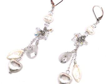 pearl, rutilated quartz , and sterling heart chain dangle earrings