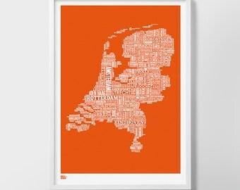 Netherlands Type Map Screen Print, Netherlands Type Map, Netherlands Font Map, Netherlands Wall Art, Netherlands Map Poster, Netherlands Art