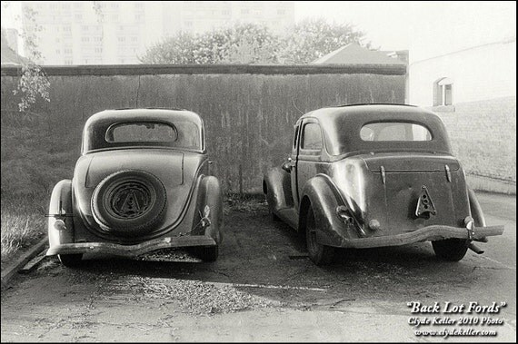 BACK LOT FORDS, Doubles Series, Clyde Keller Photo, Fine Art Print, Black and White, Signed, vintage 1977 image, Treasury