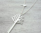 Sterling Silver Long Woods Necklace, 925 Silver, Tree Necklace, Bird Necklace, Nature Inspired Necklace