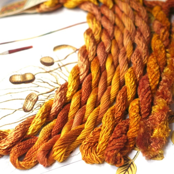 Assorted silk embroidery thread hand dyed in gold for