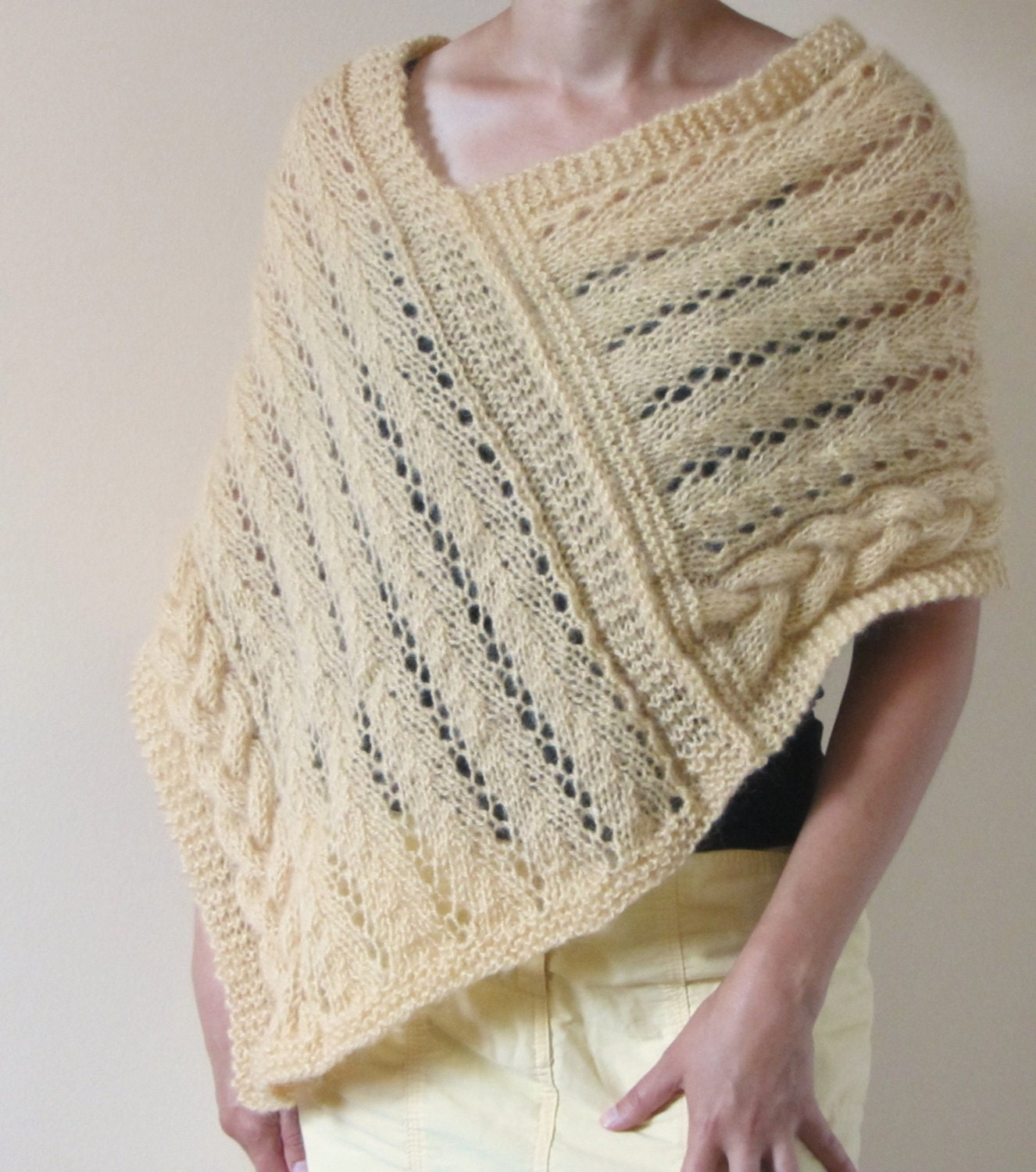 Lace Poncho Knitting Pattern : Cables and Lace Poncho Wrap Pattern knitting