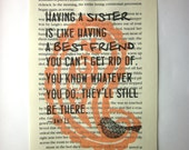Sister quote on a book page, Having a sister is like having a best friend