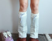 White Gray Fair Isle Geometric Recycled Sweater Legwarmers/ Boot Covers Leg Warmers Upcycled Boho Chic Gifts For Her