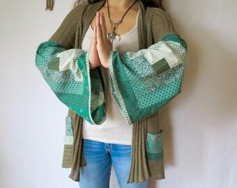 Earthy Green Patchwork Bell Sleeves Hippie Bohemian Crochet Back Sweater Cardigan Jacket Festival Eco Friendly Womens Size Small/Medium