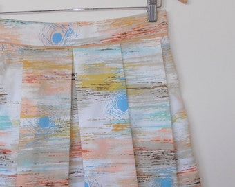sunset on water...high waist pleated skirt with side seam pockets