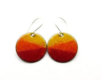 Orange and Red Earrings - Orange Enamel Earrings - Red Enamel Earrings - Orange Red Dangle Earrings / Sunset