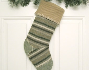 Green Striped Knit Customized Christmas Stocking Personalized Holiday Decoration Handcrafted from Felted Wool Sweater no677