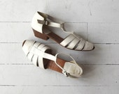 Tamm Harbor sandals | vintage 1980s sandals | white leather ankle strap peeptoe shoes 7.5