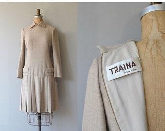25% OFF.... Teal Traina wool dress | vintage 60s dress | designer wool 1960s dress