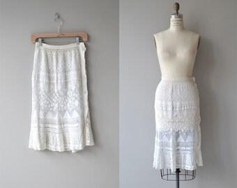 Leticia crochet skirt | vintage 1970s crochet skirt | white cotton crochet skirt