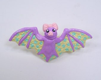 Kawaii Fairy Kei Bat hairclip - Polymer clay jewerly
