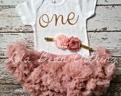 Baby Girl 1st Birthday Outfit Cake Smash Gold One Bodysuit Dusty Rose Pink Petti Skirt Light Pink Headband LolaBeanClothing