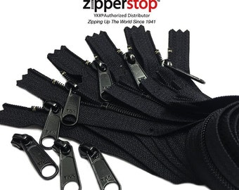 Long Pull YKK® Nylon Coil #4.5 Handbag Zippers with extra Long Pull Slider- Closed Bottom Made in USA ( 5 zippers, YKK® #4.5 Sliders 3pcs